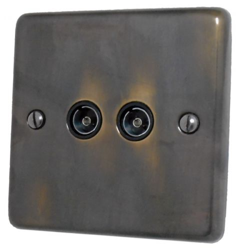 G&H CAN36B Standard Plate Polished Aged Brass 2 Gang TV Coax Socket Point